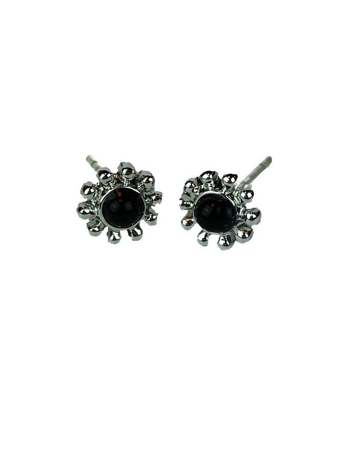VINTAGE FLOWER BLACK Ohrringe Silber