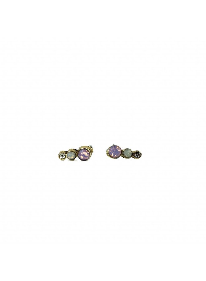 VINTAGE stone Stud earring trio stone gold