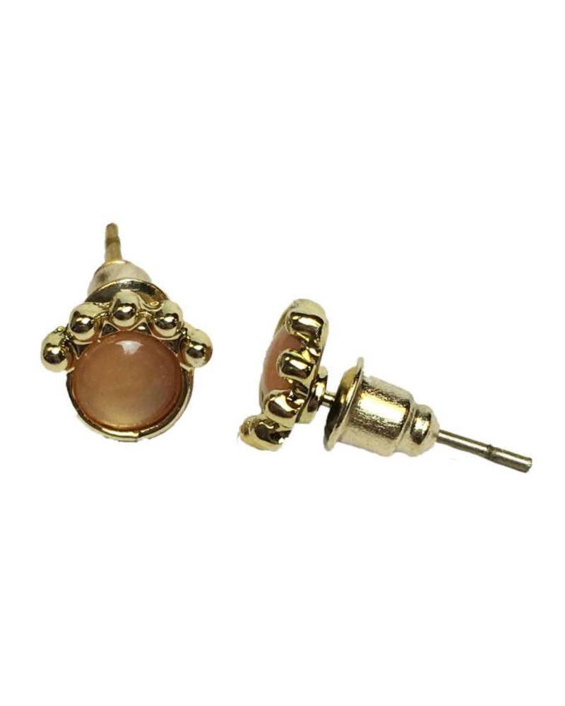 Jozemiek ® VINTAGE  stone Stud oorbel crown orange goud