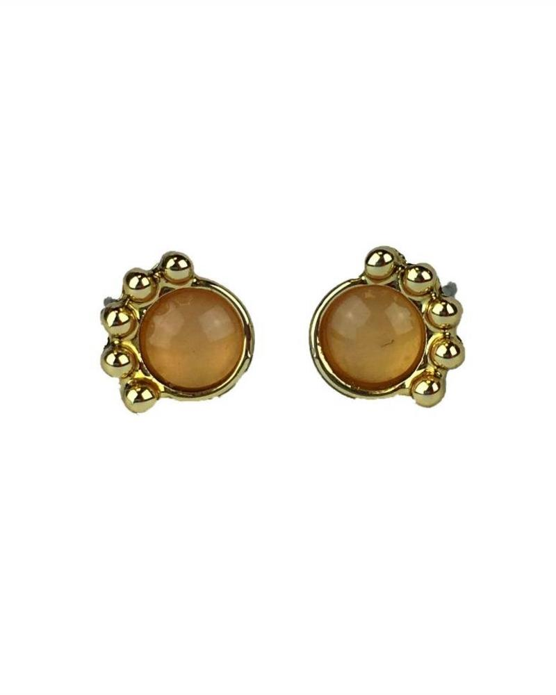 Jozemiek ® VINTAGE  stone Stud earring crown orange gold