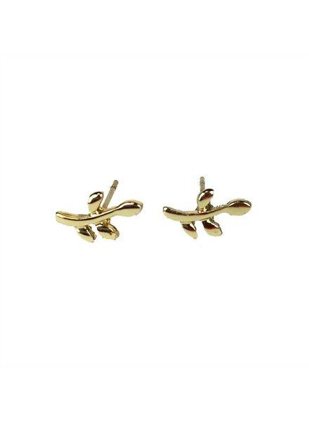 Jozemiek ® VINTAGE stone Stud earring twig gold