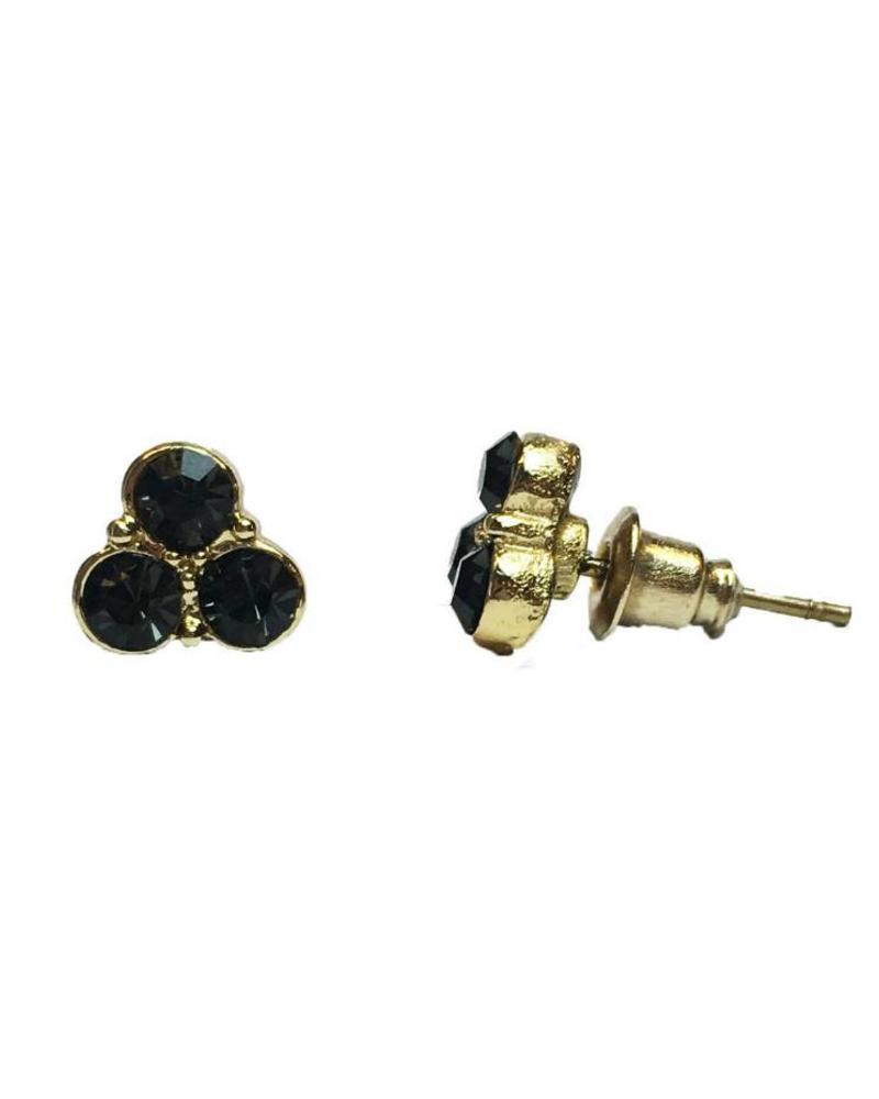 Jozemiek ® VINTAGE  stone Stud oorbel trio black goud
