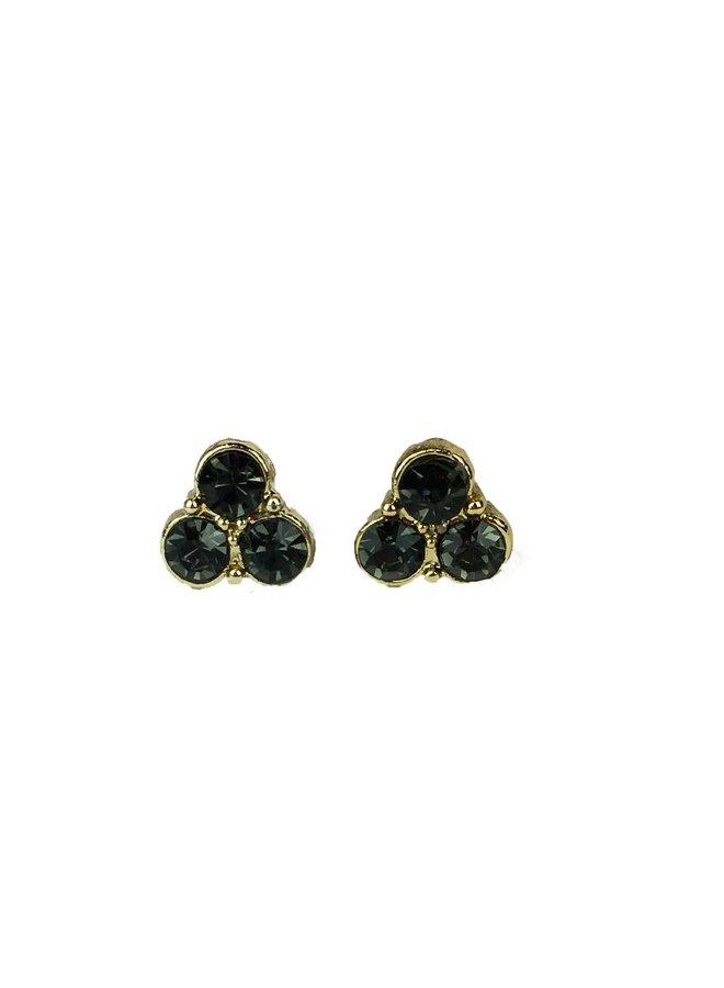 VINTAGE stone Stud earring trio black gold