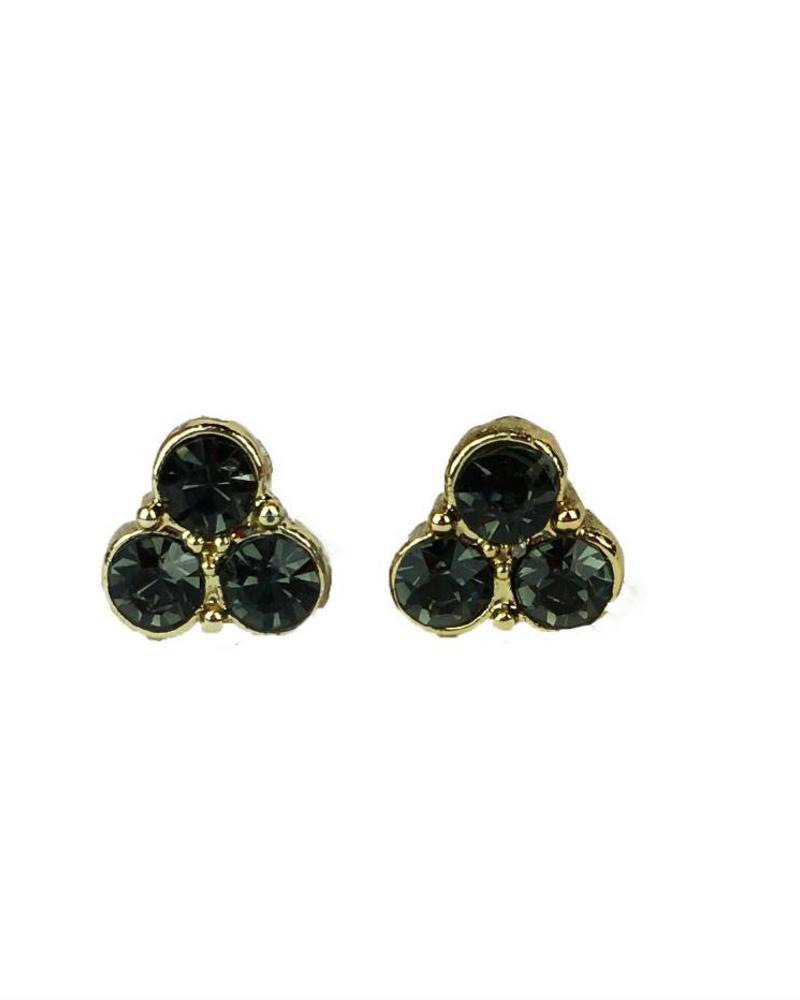 Jozemiek ® VINTAGE stone Stud earring trio black gold