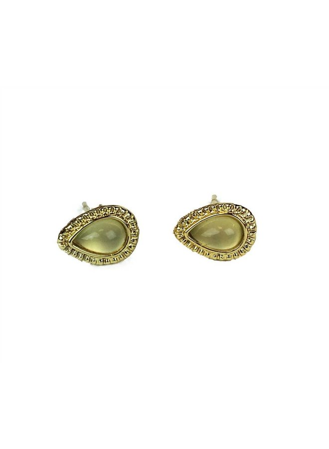 VINTAGE stone Stud earring teardrop honeydew gold