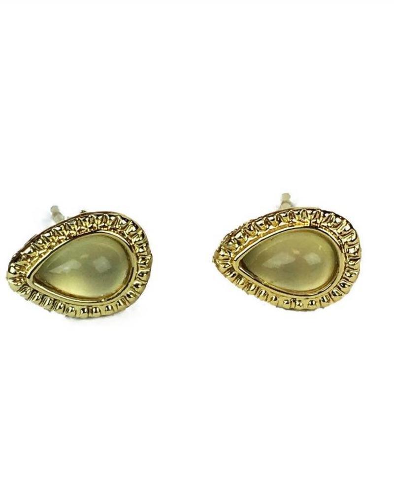 Jozemiek ® VINTAGE stone Stud earring teardrop honeydew gold
