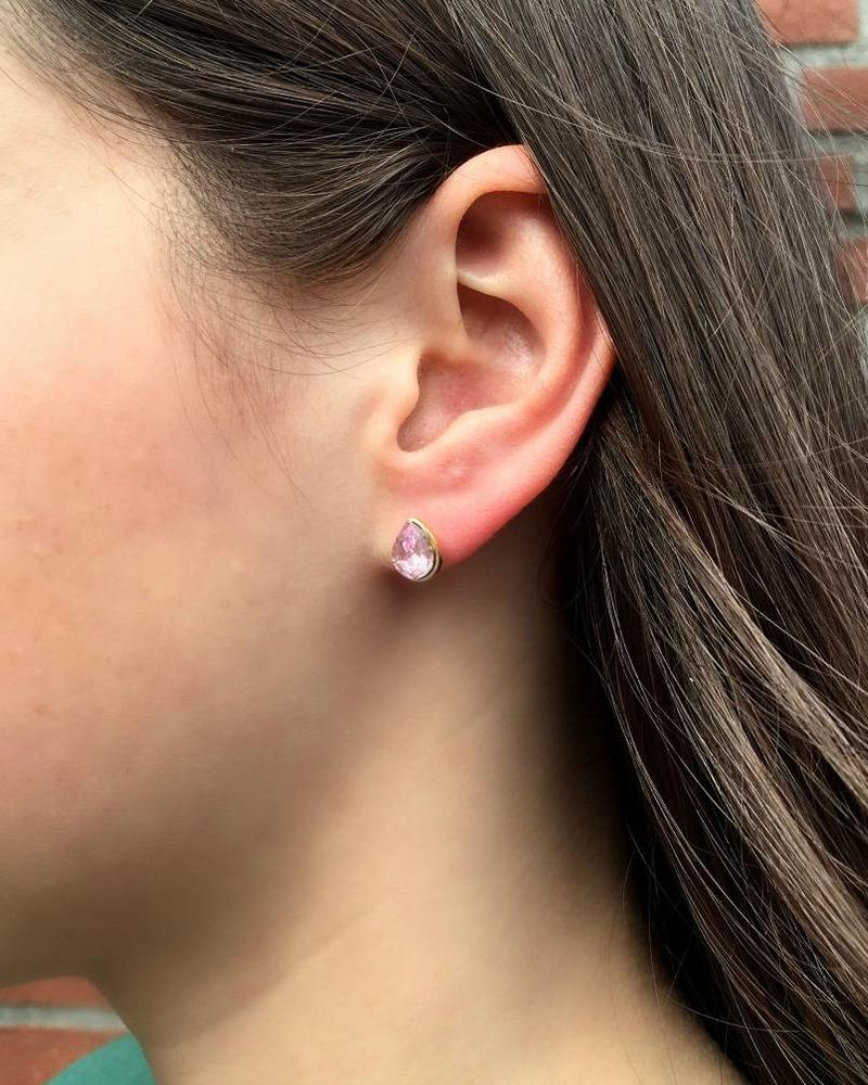 Jozemiek ® VINTAGE stone Stud earring teardrop pink gold