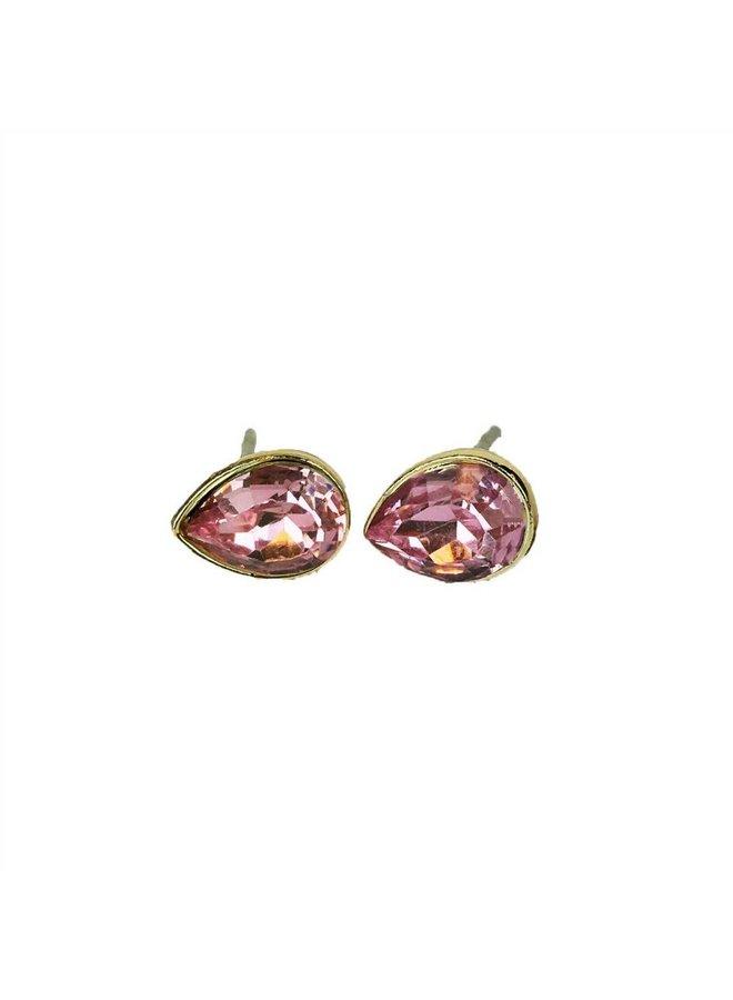VINTAGE  stone Stud oorbel teardrop pink goud