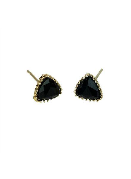 Jozemiek ® VINTAGE stone Stud earring triangle black, gold