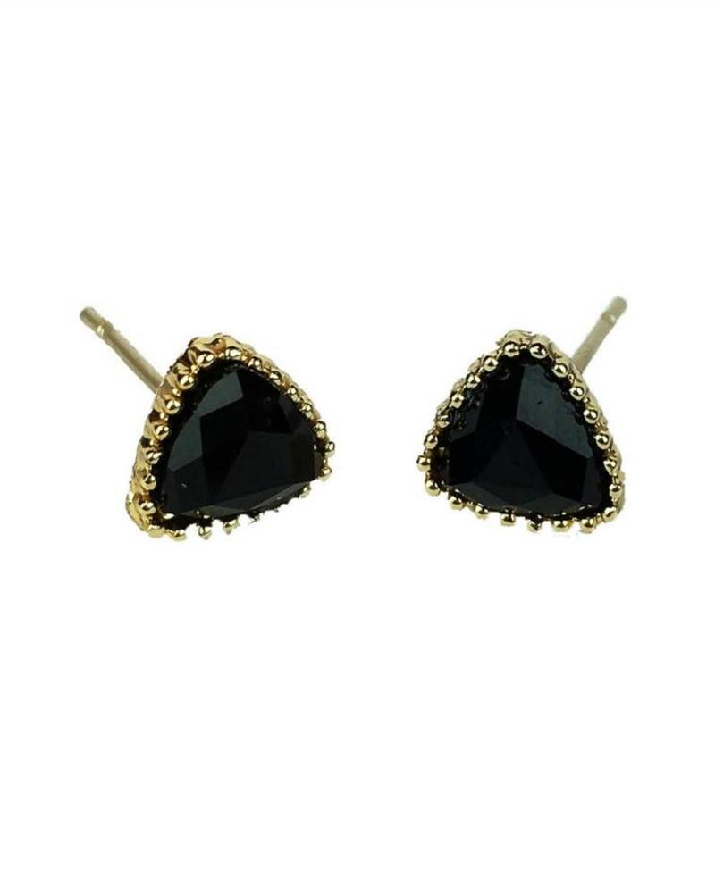 Jozemiek ® VINTAGE  stone Stud oorbel driehoek zwart, goud