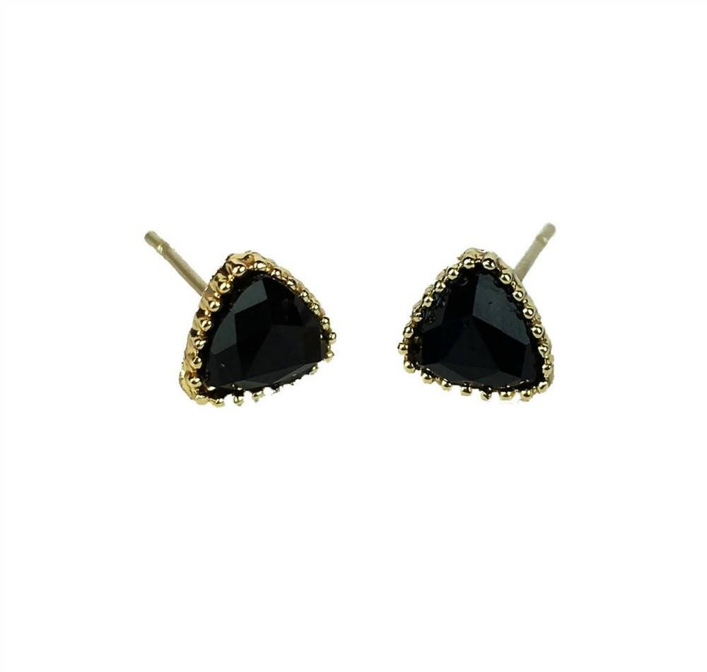 3049b3d6e6209 VINTAGE stone Stud earring triangle black gold