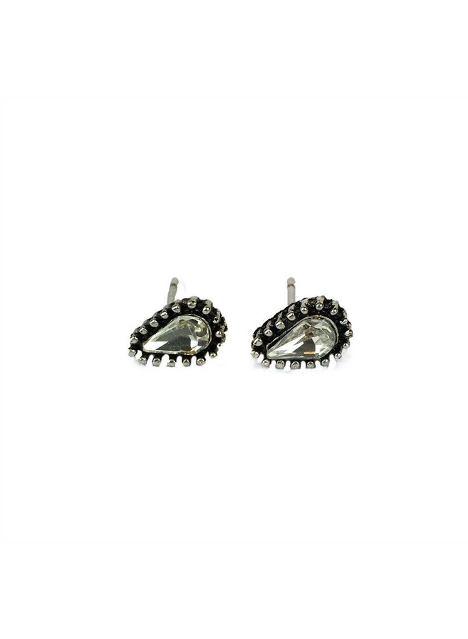 VINTAGE TEARDROP CRISTAL Stud earring silver