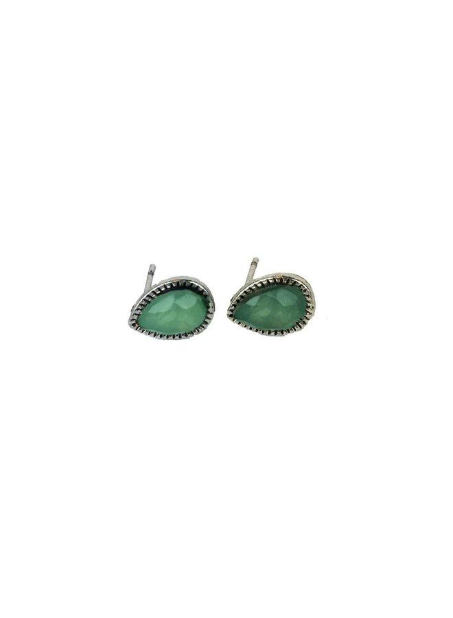 VINTAGE TEARDROP AQUA Stud earring silver