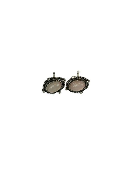 Jozemiek ® VINTAGE PINK OVAL Stud earring silver