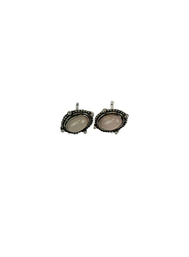 VINTAGE PINK OVAL Stud earring silver
