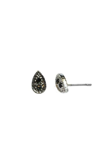 Jozemiek ® VINTAGE TEARDROP BLACK Stud earring silver