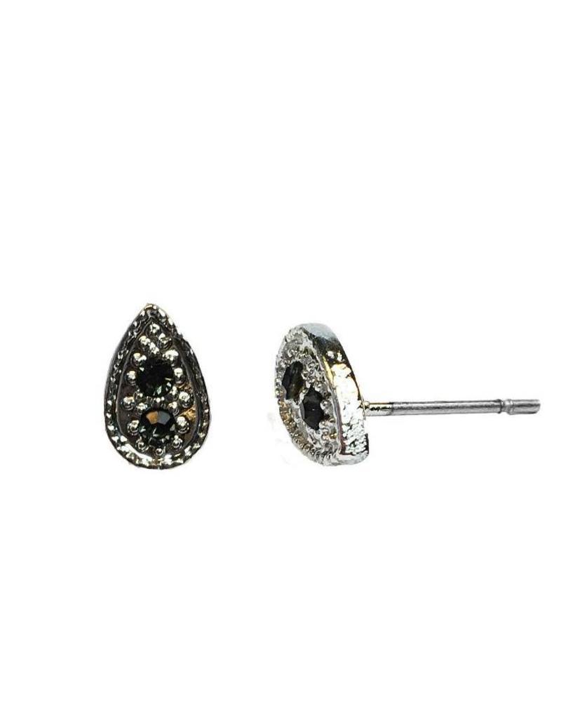 Jozemiek ® VINTAGE TEARDROP BLACK   Stud oorbel  zilver
