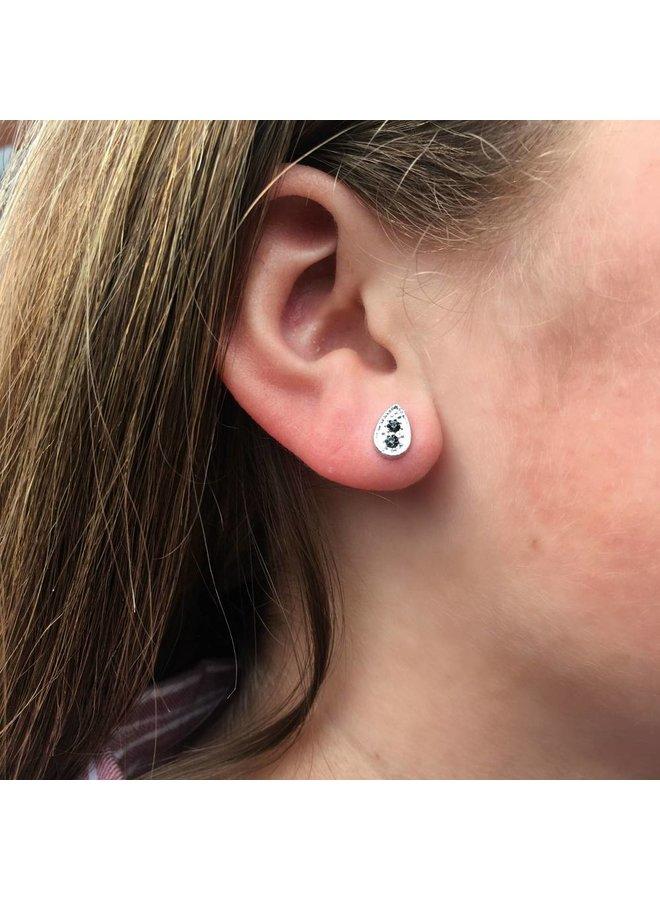 VINTAGE TEARDROP BLACK Stud earring silver
