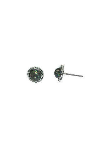 Jozemiek ® VINTAGE DOT grey Stud earring silver