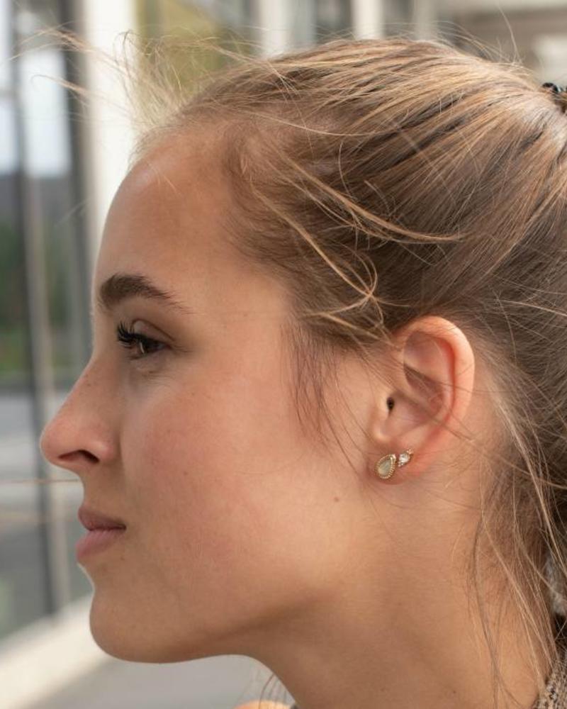 Jozemiek ® VINTAGE  stone Stud earring wing gold