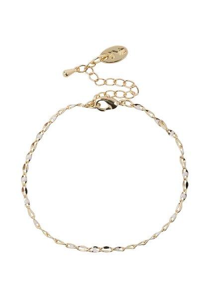 Jozemiek ® ONE DAY charity bracelet wit ( 14k geelgoud  of  witgoud)