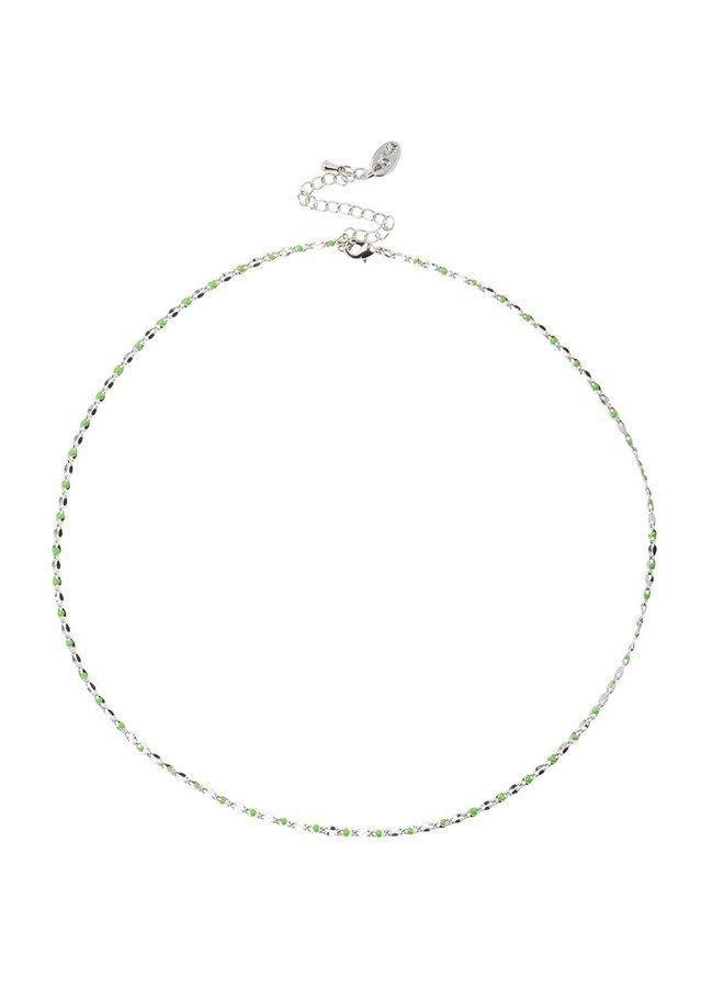 ONE DAY Charity Halskette grün (plattiertes 14 Karat Gelbgold oder Weißgold)