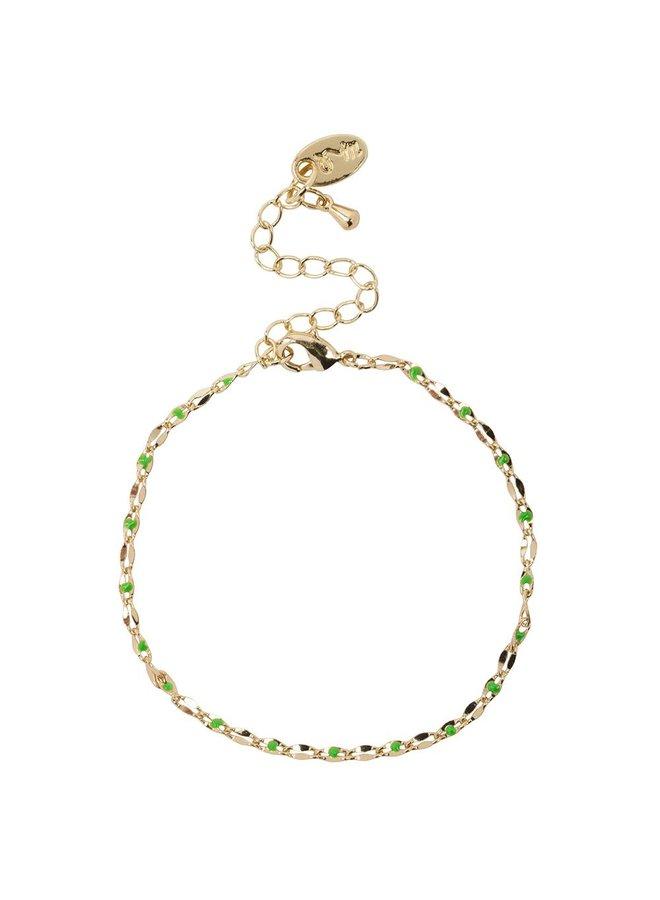 ONE DAY charity bracelet groen ( plated 14k geelgoud  of  witgoud)