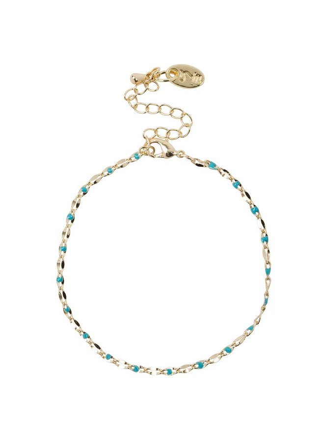 ONE DAY charity bracelet aqua ( plated 14k geelgoud  of  witgoud)