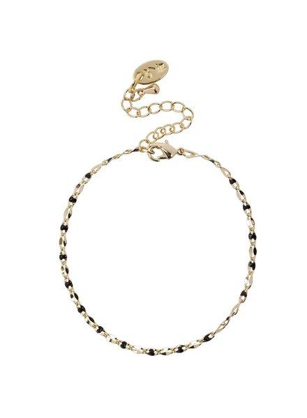 Jozemiek ® ONE DAY charity bracelet zwart ( plated  14k geelgoud  of  witgoud)