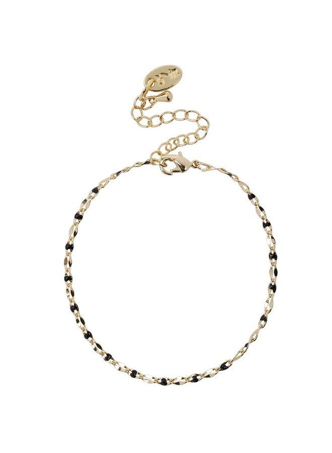 ONE DAY charity bracelet zwart (plated  14k geelgoud  of  witgoud)