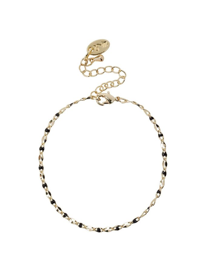 ONE DAY charity bracelet zwart ( plated  14k geelgoud  of  witgoud)