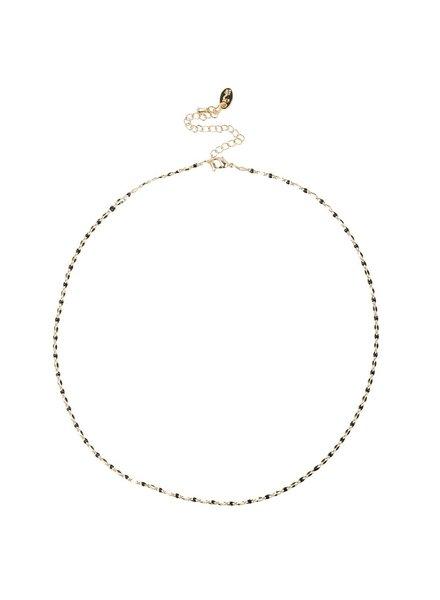 Jozemiek ® ONE DAY Charity Halskette schwarz (plattiertes 14 Karat Gelbgold oder Weißgold)