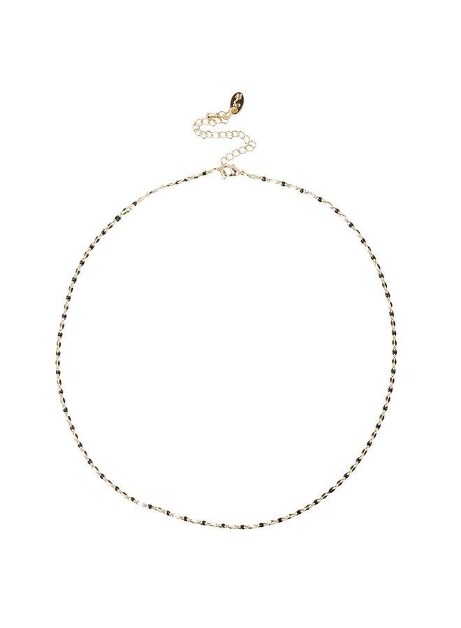 ONE DAY Charity Halskette schwarz (plattiertes 14 Karat Gelbgold oder Weißgold)