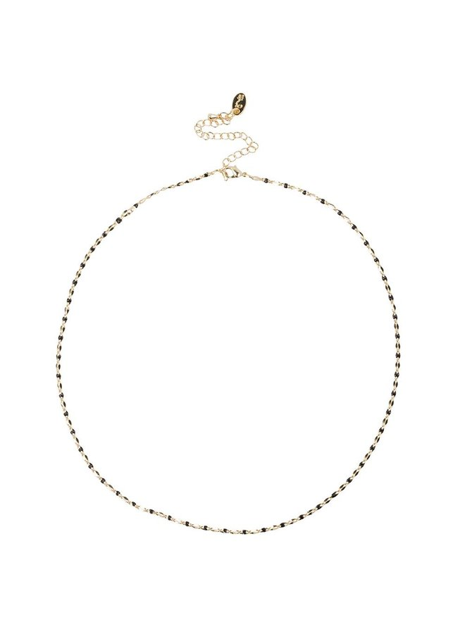 ONE DAY charity ketting zwart  ( plated  14k geel goud of wit goud)