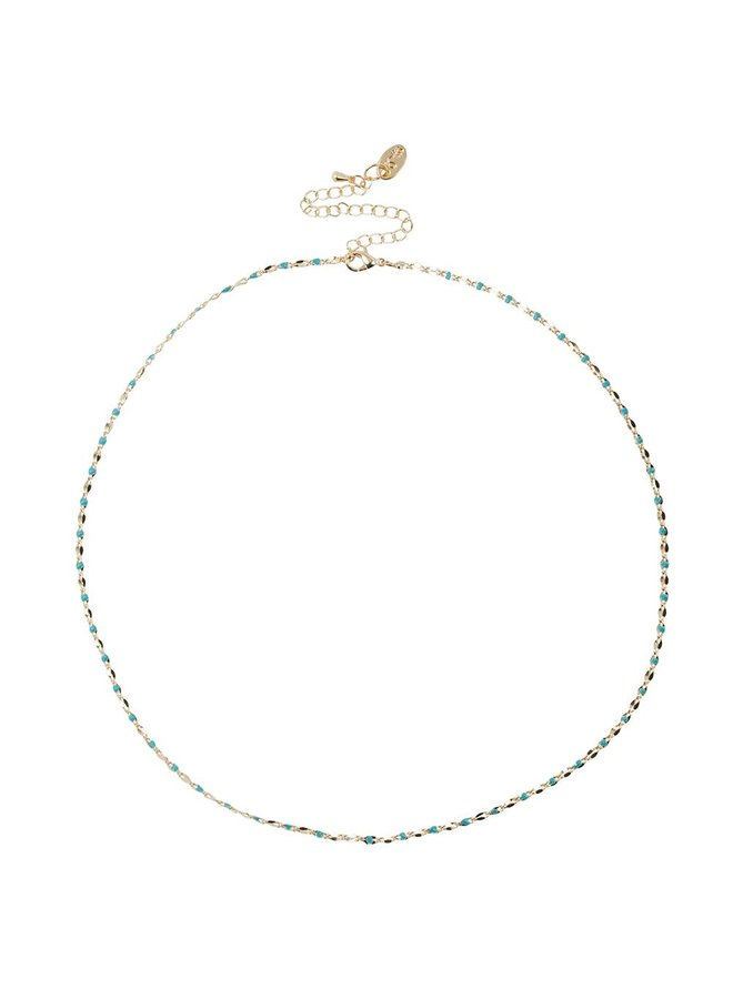 ONE DAY charity ketting aqua  ( 14k plated  geel goud of wit goud)