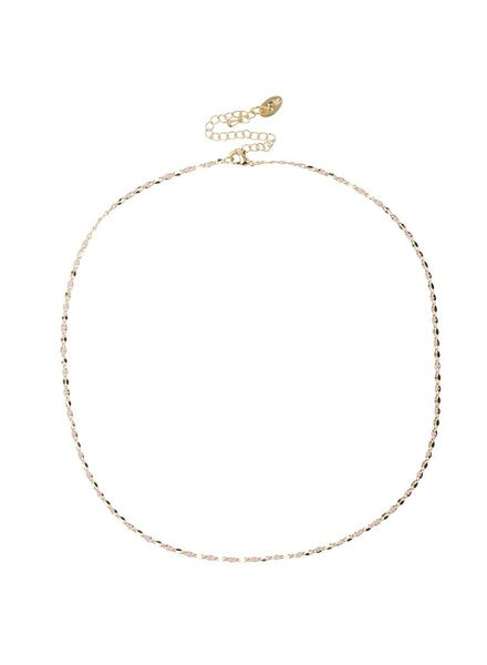 Jozemiek ® ONE DAY charity ketting roze  ( 14k plated geel goud of wit goud)