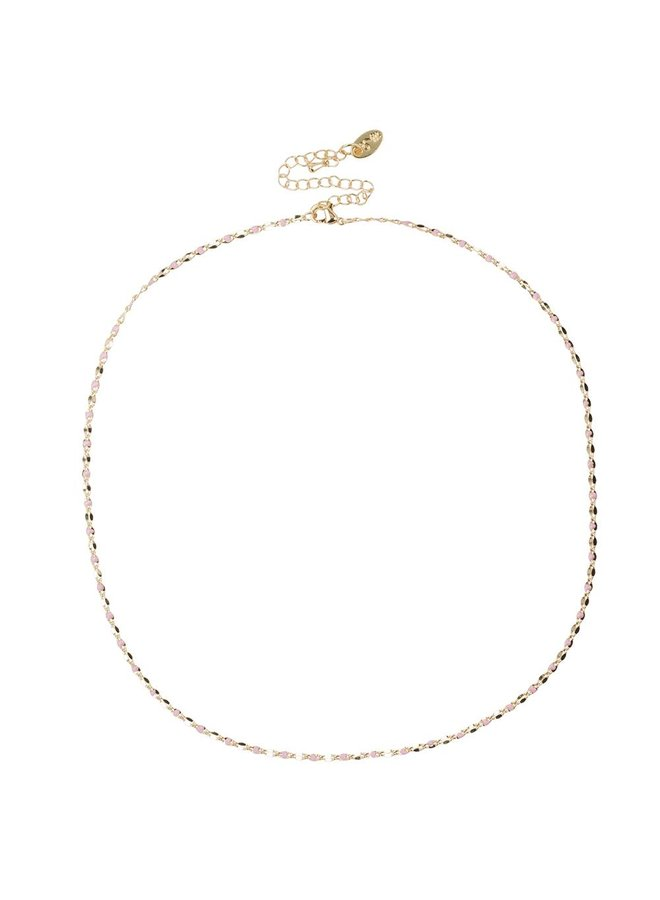 ONE DAY charity ketting roze  ( 14k plated geel goud of wit goud)