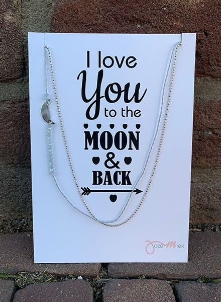 Jozemiek ® Ketting Love you to the MOON  and back zilver