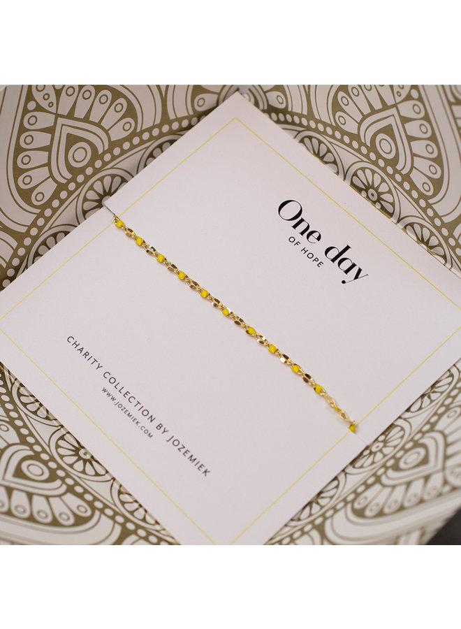 ONE DAY charity bracelet geel ( plated  14k geelgoud  of  witgoud)