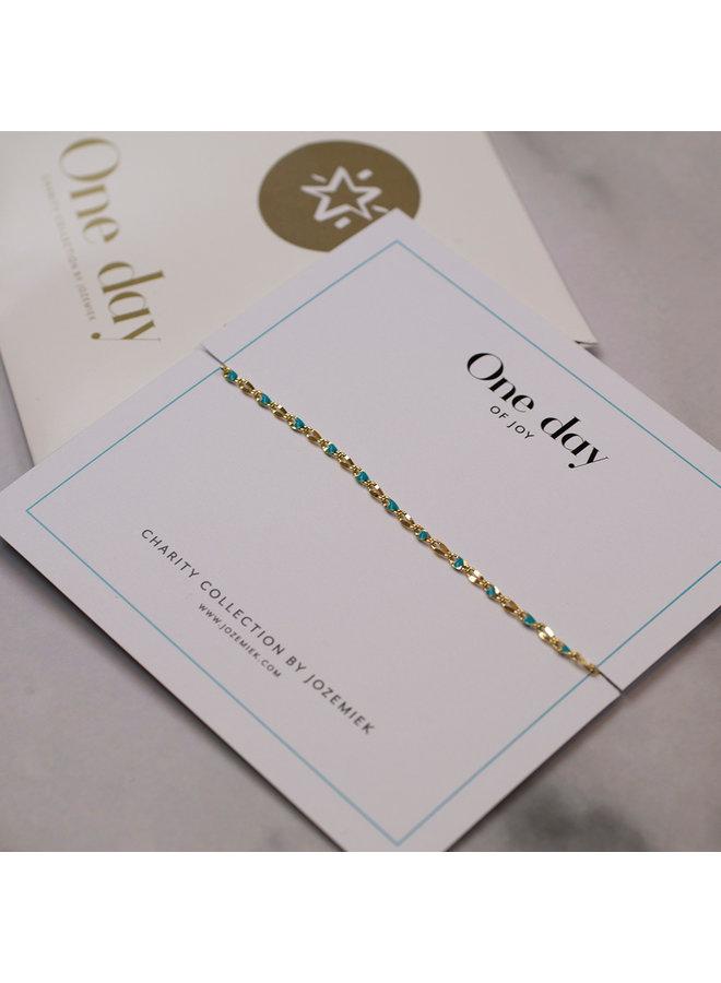 ONE DAY Wohltätigkeitsarmband Aqua (vergoldet 14 Karat Gelbgold oder Weißgold)
