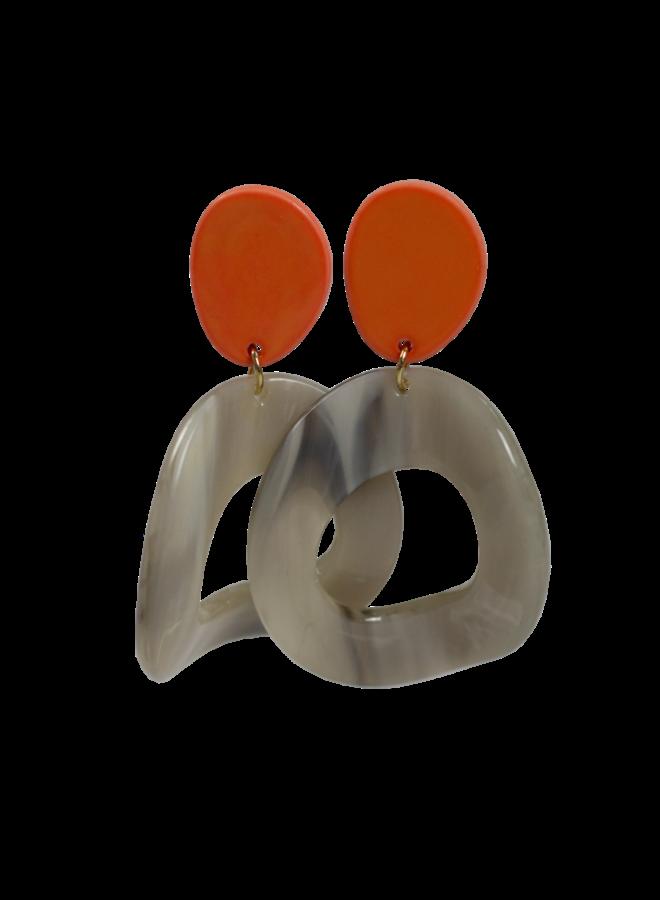 Statement earring orange