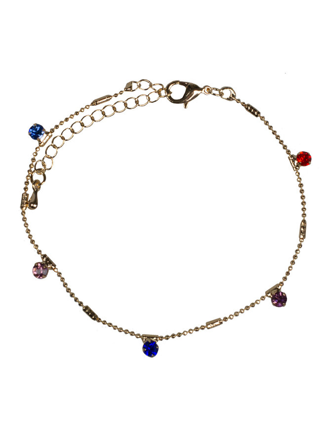 anklet gold colorful stone