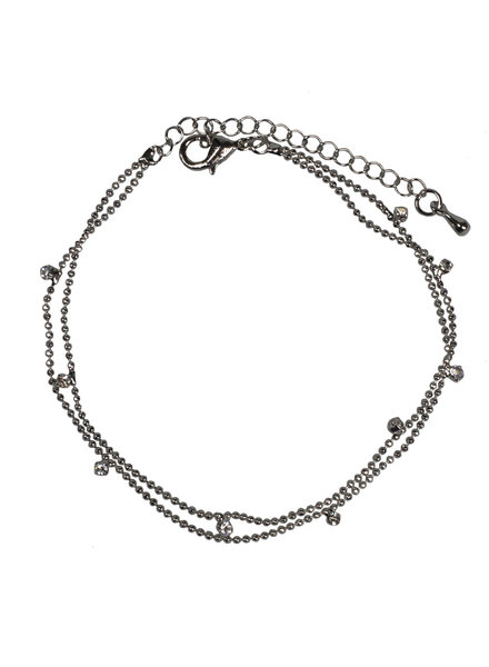 Jozemiek ® double anklet silver glass bead