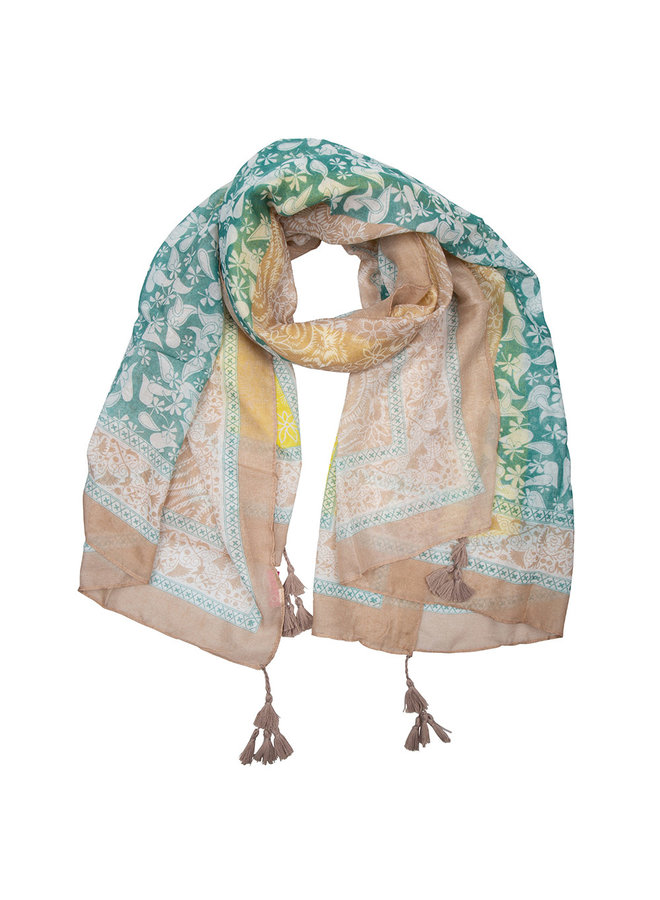 Scarf paisley print with tassel