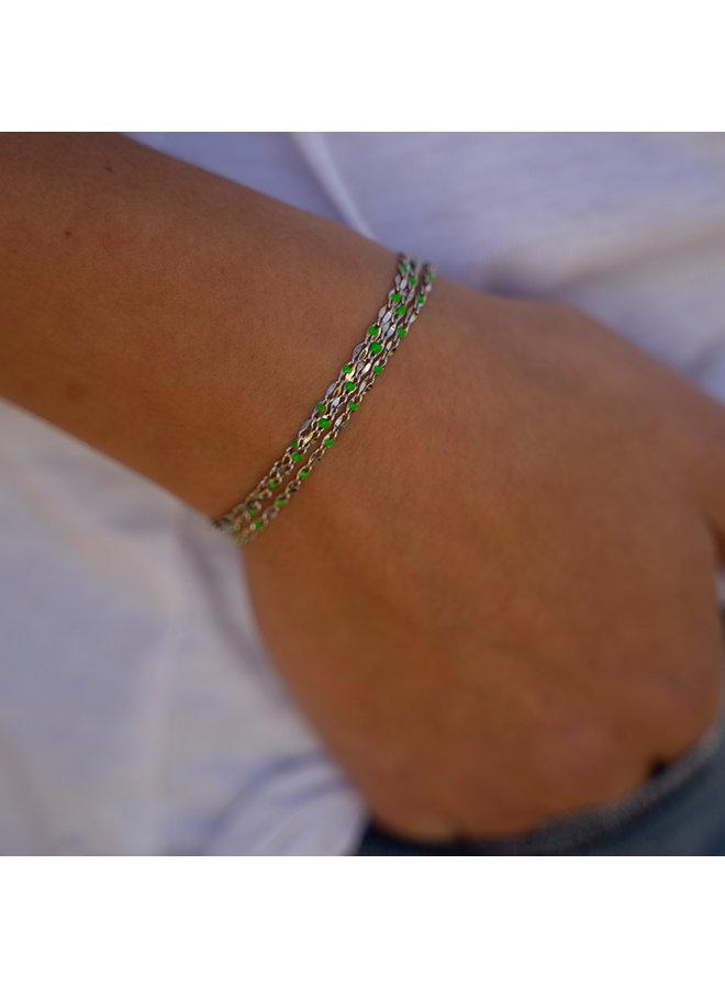 ONE DAY Charity Armband grün (vergoldetes 14 Karat Gelbgold oder Weißgold)