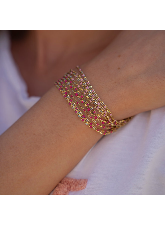 ONE DAY charity bracelet fuchsia ( plated 14k geelgoud  of  witgoud)