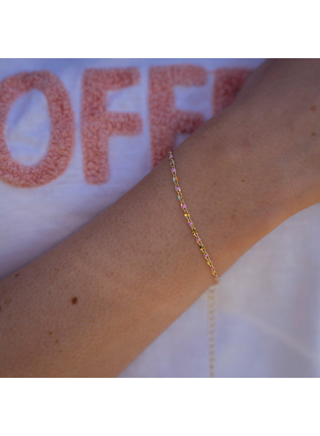 ONE DAY charity bracelet roze ( plated 14k geelgoud  of  witgoud)