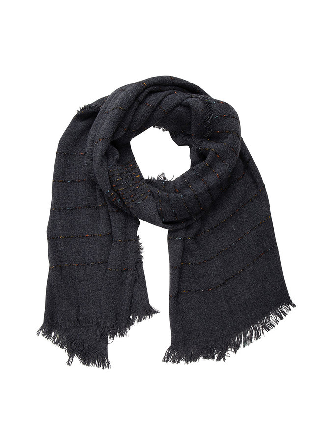 Black scarf, stripe with Cashmere touch