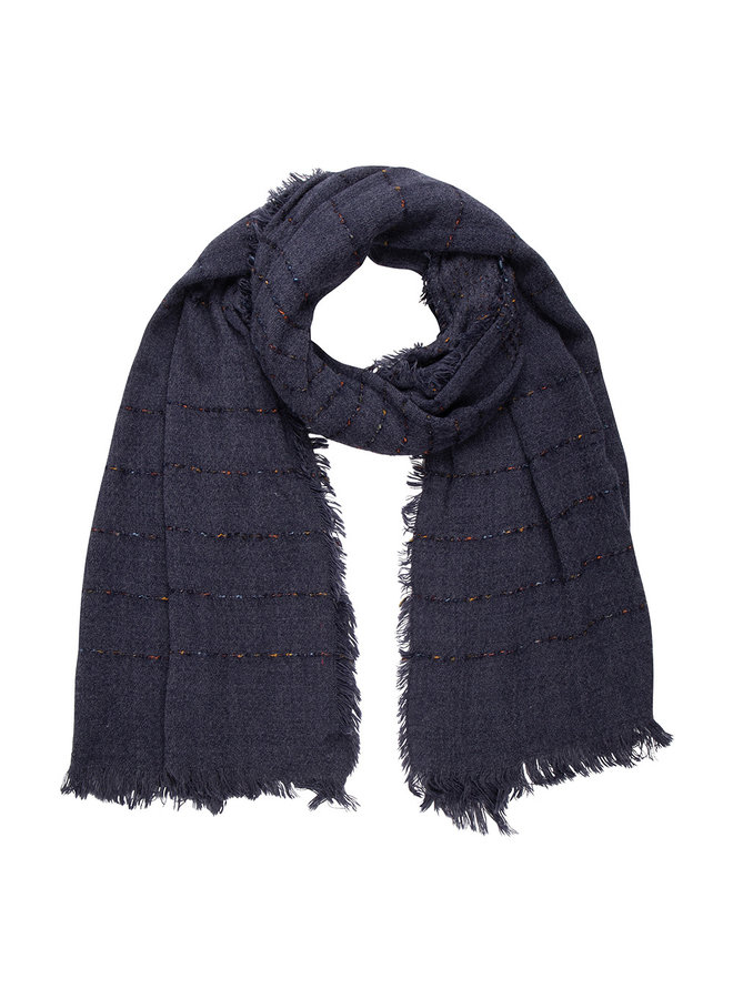 Navy scarf, stripe with Cashmere touch