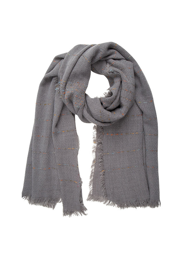 Gray scarf, Cashmere touch stripe